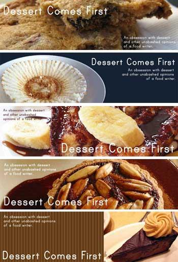 Dessert Comes First header designs