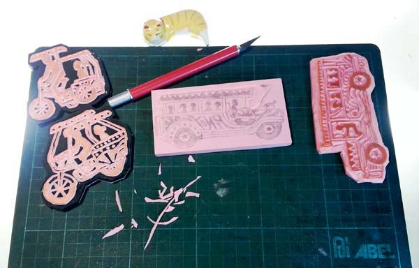 rubber stamp carving progress