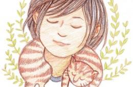 Girl + Sleeping Cat Colored Pencil Series (2015)