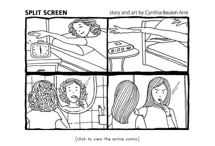 split screen comic by cynthia bauzon arre