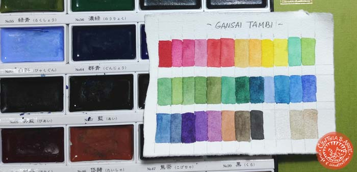 kuretake gansai tambi swatches