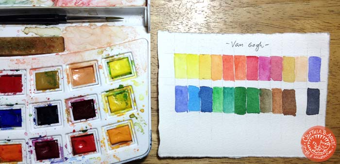 Van Gogh watercolor swatches