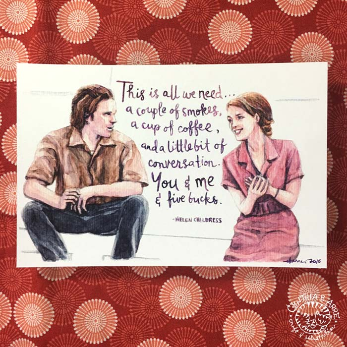 reality bites quote watercolor postcard print